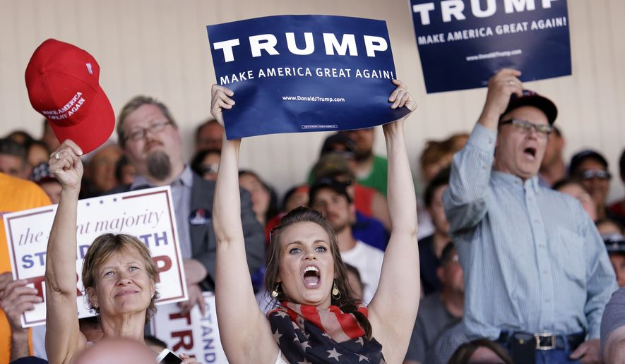In this May 8, 2016, file photo, spectators cheer as Republican presidential candidate Donald Trump speaks in Lynden, Wash. (AP Photo/Elaine Thompson, File)