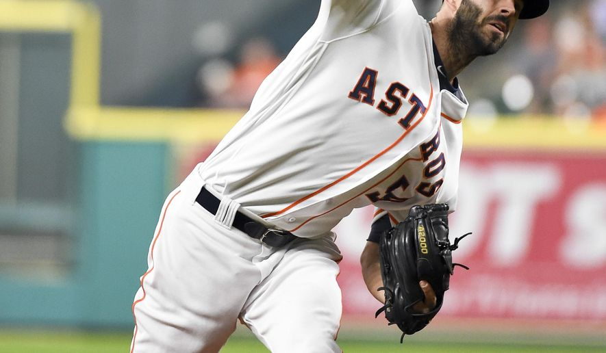 Houston Astros starting pitcher Mike Fiers delivers in the first inning of a baseball game against the Cleveland Indians, Monday, May 9, 2016, in Houston. (AP Photo/Eric Christian Smith)