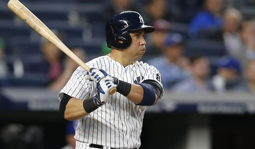 New York Yankees Carlos Beltran reacts as he watches his third-inning, solo, home run off Kansas City Royals starting pitcher Chris Young in a baseball game at Yankee Stadium in New York, Monday, May 9, 2016. (AP Photo/Kathy Willens)