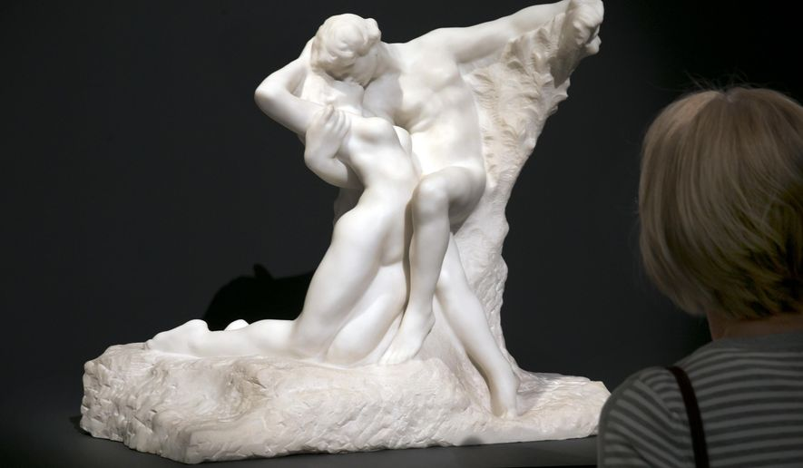 """FILE- In this Friday, March 29, 2016 file photo, Rodin's """"Eternal Springtime"""" is viewed during the spring auction preview at Sotheby's, in New York. A sculpture of a kneeling Hitler and two Fauve period paintings are also among the offerings at the impressionist, modern and contemporary art evening auctions at Sotheby's and Christie's in New York, Monday, May 9. (AP Photo/Richard Drew, File)"""