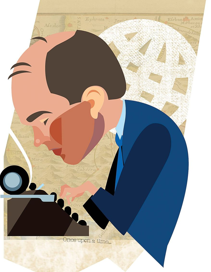 Illustration of Ben Rhodes by Linas Garsys/The Washington Times