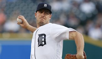 Detroit Tigers pitcher Jordan Zimmermann throws against the Texas Rangers in the fourth inning of a baseball game Friday, May 6, 2016 in Detroit. (AP Photo/Paul Sancya)
