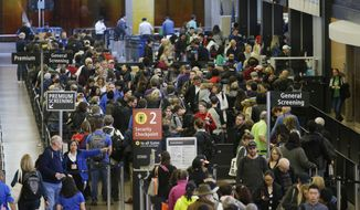 In this March 17, 2016, file photo, travelers wait in line for security screening at Seattle-Tacoma International Airport in Seattle.  (AP Photo/Ted S. Warren, File) **FILE**