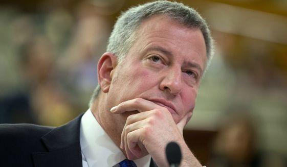 New York City Mayor Bill de Blasio testifies during a hearing in Albany on Jan. 26, 2016. (Associated Press) **FILE**
