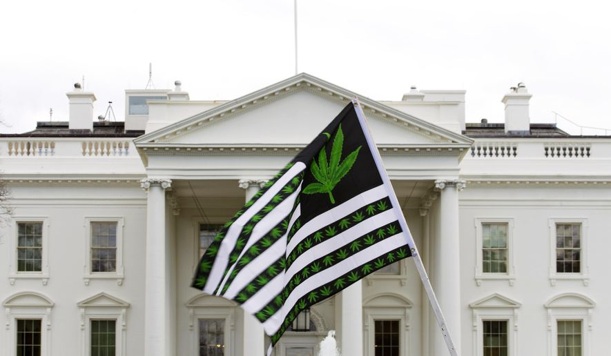 In this April 2, 2016, file photo, a demonstrator waves a flag with marijuana leaves on it during a protest calling for the legalization of marijuana, outside of the White House in Washington. (AP Photo/Jose Luis Magana, File)