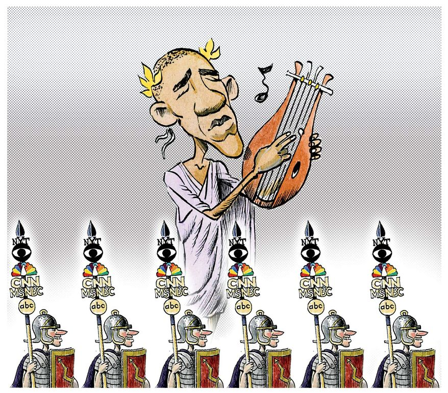Illustration on the media's protection on Obama by Alexander Hunter/The Washington Times