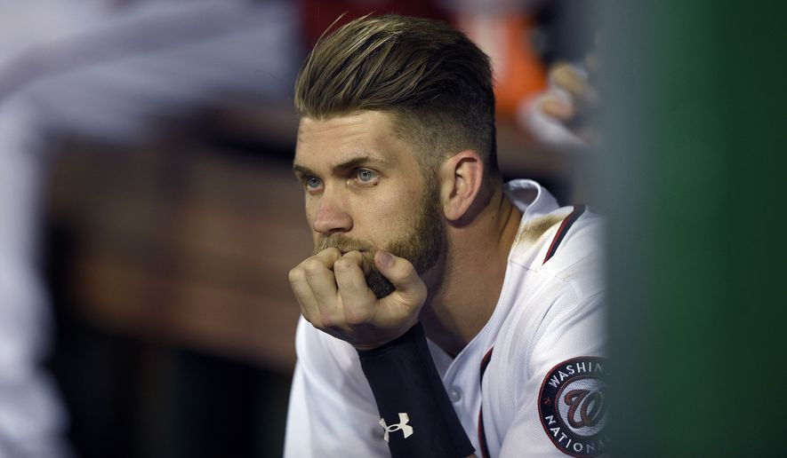 Though just in the early stages of his fourth season in the major leagues, Bryce Harper, who was named the youngest unanimous MVP in baseball history following last season, has been ejected seven times. (Associated Press)