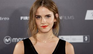 """FILE - In this Aug. 27, 2015 file photo, actress Emma Watson poses for photographers during the photocall for the film, """"Regression,"""" in Madrid, Spain.  A representative for Watson said on Wednesday, May 11, 2016, that the """"Harry Potter"""" actress had an offshore company for privacy reasons and not for tax benefits. The company, Falling Leaves Ltd., was named in the so-called Panama Papers, a series of leaked documents that detail how politicians and celebrities hide their wealth.  . (AP Photo/Abraham Caro Marin, File)"""