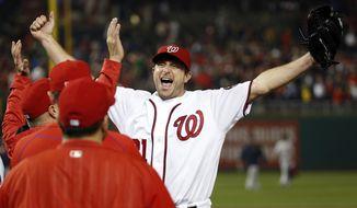 Washington Nationals starting pitcher Max Scherzer struck out 20 batters, tying the major league nine-inning record. The Nationals won 3-2. (AP Photo/Alex Brandon)