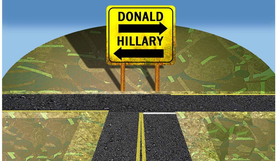 Illustration on the presidential choices for 2016 by Alexander Hunter/The Washington Times