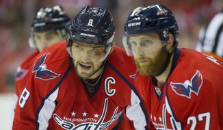 Washington Capitals left wing Alex Ovechkin (8) and teammates right wing T.J. Oshie (77) and defenseman Karl Alzner (27) during a face off against the Pittsburgh Penguins during the first period of Game 5 in an NHL hockey Stanley Cup Eastern Conference semifinals Saturday, May 7, 2016 in Washington. Capitals won 3-1. (AP Photo/Pablo Martinez Monsivais)
