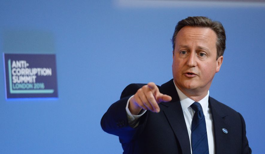 Britain's Prime Minister David Cameron speaks during the final session at the Anti-Corruption Summit in London, Thursday, May 12, 2016. (AP Photo/Stefan Rousseau, Pool) ** FILE **