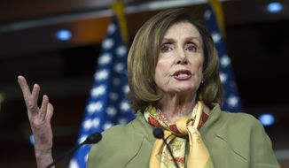 House Minority Leader Nancy Pelosi of Calif. speaks with reporters on Capitol Hill in Washington, Thursday, May 12, 2016. (AP Photo/Cliff Owen) ** FILE **