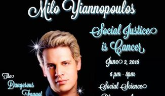 """The University of California, Irvine, is encouraging students to attend """"safe zone training"""" after posters advertising Breitbart News editor Milo Yiannopoulos' """"Dangerous Faggot Tour"""" sparked concerns. (Facebook/ Social Justice Is Cancer by Milo Yiannopoulos)"""