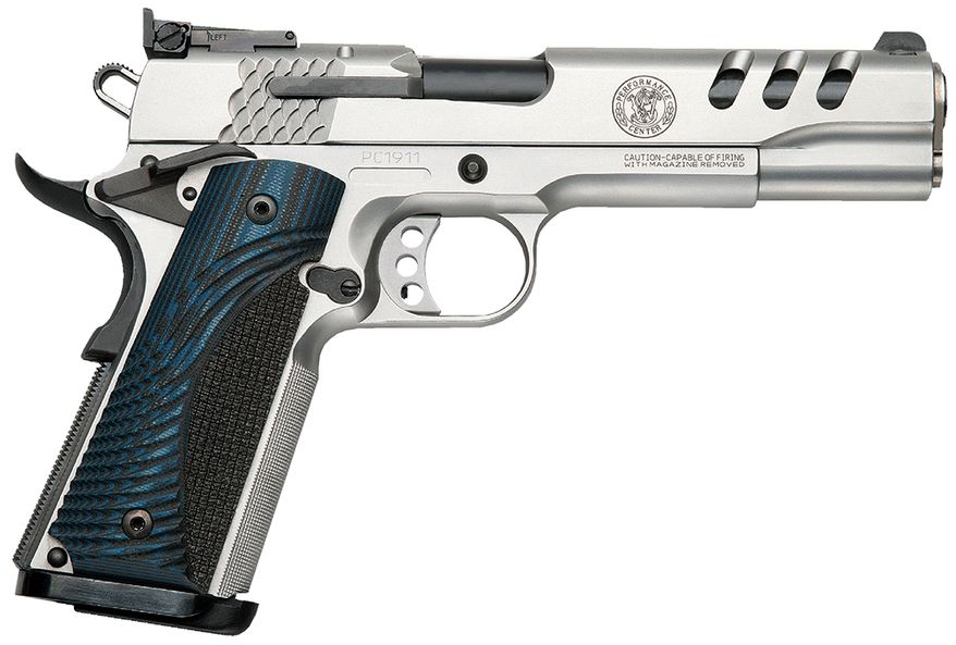 Smith & Wesson Model SW1911- Performance Center Action Job, 3.5-4 lb. trigger pull, throated barrel, precision Crowned Muzzle, Polished Feed Ramp, Spherical Barrel Bushing, 30-Lines Per Inch Checkering, Ambidextrous Frame Safety, Slide Ported Lighting Cuts