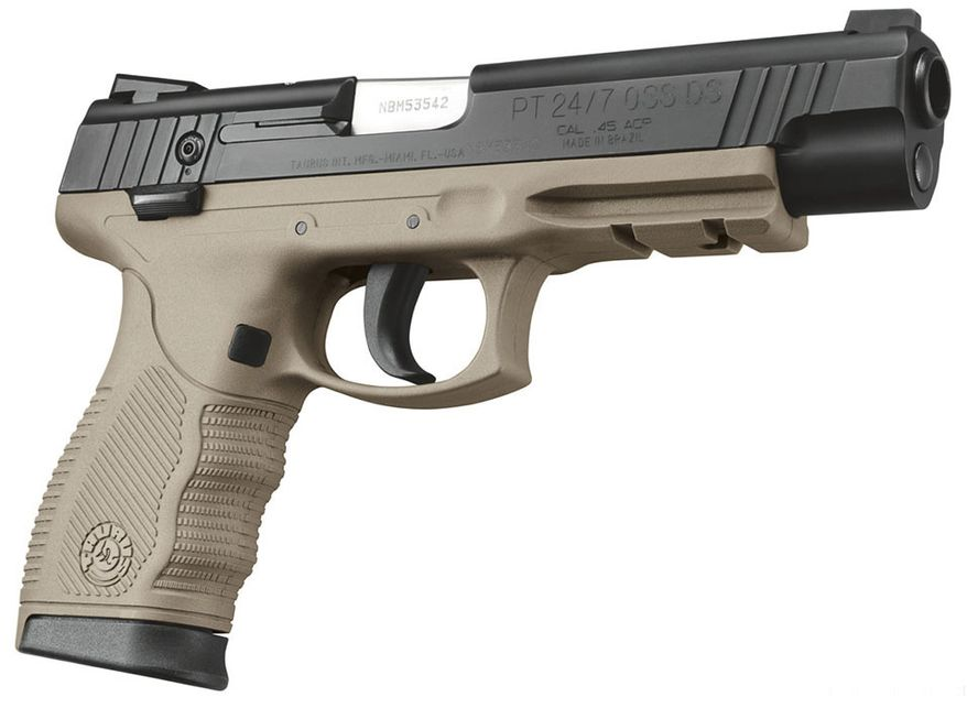 Introduced in 2004, the Taurus PT 24/7 is a semi-automatic pistol using the short type of recoil operation, and available in various models with double-action-only (DAO) and double action/single-action-type trigger actions. Using a hammerless, striker-fired design, these pistols are manufactured by Forjas Taurus S/A (Taurus Forge) in Porto Alegre Brazil and distributed in the United States by their subsidiary Taurus USA. The 24/7 product line was designed for the civilian concealed carry firearms market, and as backup weapons for law enforcement officers