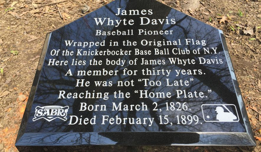 In this April 6, 2016 photo provided by Green-Wood Cemeteryi, a grave stone that will mark the grave of baseball pioneer James Whyte Davis is shown. Whyte, who has rested in an unmarked grave since he died in 1899, will finally get the recognition he craved when the historic New York City cemetery unveils his gravestone. (Jeff Richman/Green-Wood Cemetery Historic Fund via AP)