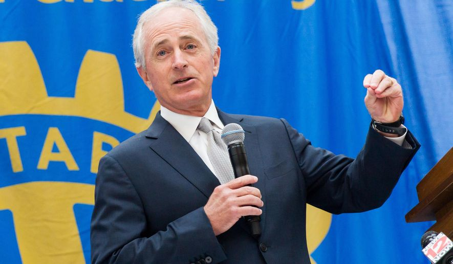 """In this May 5, 2016, photo, U.S. Sen. Bob Corker makes a Rotary Club speech in Chattanooga, Tenn. The Tennessee Republican said afterward that he had no regrets about sitting out this year's tumultuous GOP presidential campaign, saying he wasn't the type of candidate """"the country was looking for"""" this year. (AP Photo/Erik Schelzig)"""