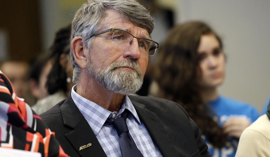 FILE - In this Jan. 12, 2016 file photo, Washington State School Superintendent Randy Dorn listens during testimony on two proposed fixes to the state's charter school system, in Olympia, Wash. Dorn said he will not run for governor. The two-term superintendent had been mulling a challenge to Democratic incumbent Jay Inslee but said Thursday, May 12,  he has decided against it. Republican Bill Bryant is already running against Inslee. (AP Photo/Elaine Thompson, File)