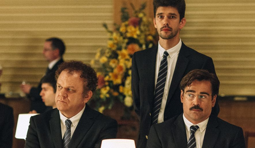 "This image released by A24 Films shows, from left, John C. Reilly, Ben Whishaw and Colin Farrell in a scene from the film, ""The Lobster."" The movie opens Friday, May 13, 2016. (A24 Films via AP)"