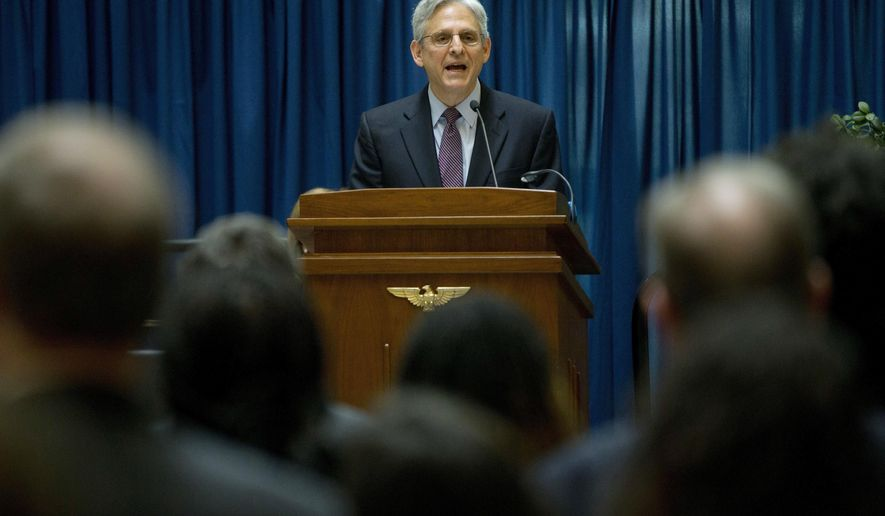 FILE - In this Thursday, April 21, 2016 file photo, Judge Merrick Garland, President Barack Obama's choice to replace the late Justice Antonin Scalia on the Supreme Court, speaks at an awards breakfast for pro bono counsel at the E. Barrett Prettyman Courthouse in Washington. In an unusual move, Garland will address the 2016 graduating class of the suburban Chicago high school he graduated from in 1970. Usually, Supreme Court nominees refrain from public speaking after they've been nominated and before confirmation hearings. (AP Photo/Pablo Martinez Monsivais)