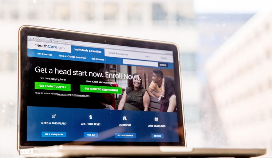 FILE - In this Oct. 6, 2015, file photo, the HealthCare.gov website, where people can buy health insurance, is displayed on a laptop screen in Washington. A federal judge has ruled that the Obama administration is unconstitutionally spending federal money to fund the president's health care law.  (AP Photo/Andrew Harnik, File)