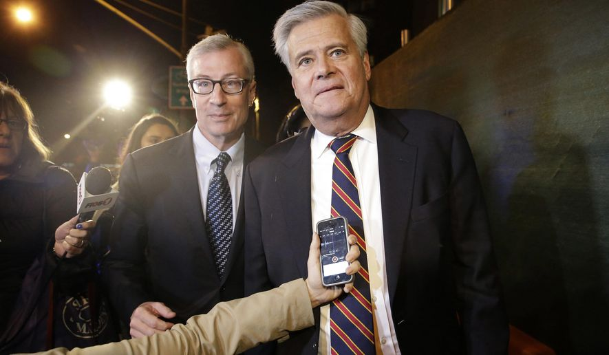 FILE - In this Dec. 10, 2015, file photo, former New York state Senate leader Dean Skelos, right, leaves federal court in New York with his attorney Robert Gage. Former Senate majority leader Skelos and his son, Adam, are scheduled to appear Thursday, May 12, 2016, in federal court to face sentencing in a political corruption case in Manhattan. A jury convicted the father and son last year on extortion and other charges. (AP Photo/Mary Altaffer, File)
