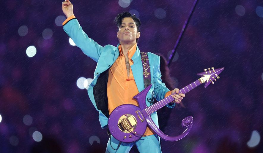 FILE - In this Feb. 4, 2007 file photo, Prince performs during the halftime show at the Super Bowl XLI football game at Dolphin Stadium in Miami. The music icon died last month at his suburban Minneapolis home at age 57. (AP Photo/Chris O'Meara, File)