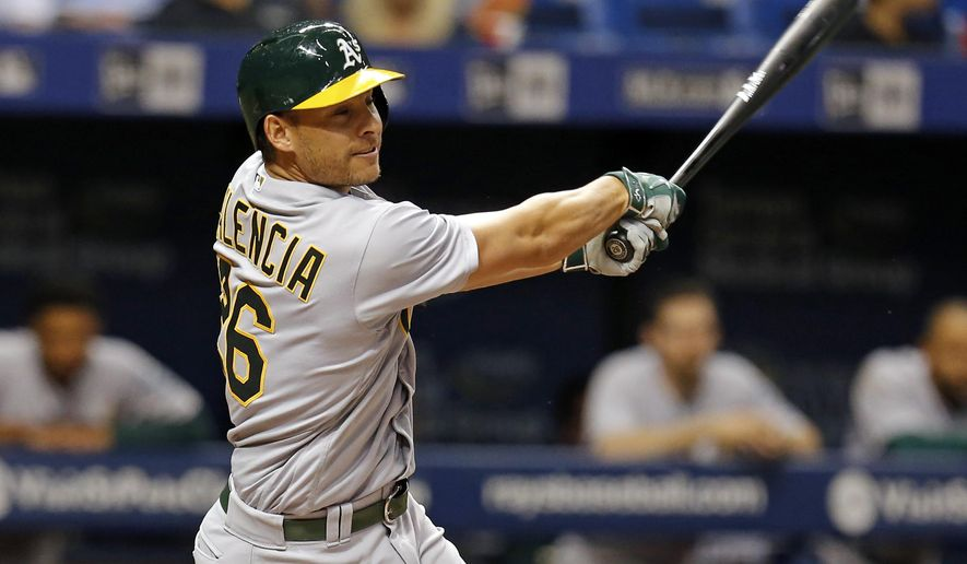 Oakland Athletics' Danny Valencia follows through on his home run during the sixth inning of a baseball game against the Tampa Bay Rays, Friday, May 13, 2016, in St. Petersburg, Fla. (AP Photo/Mike Carlson)
