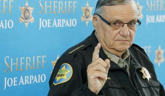 Maricopa County Sheriff Joe Arpaio speaks at a news conference at the Sheriff's headquarters in Phoenix on Dec. 18, 2013. (Associated Press) **FILE**