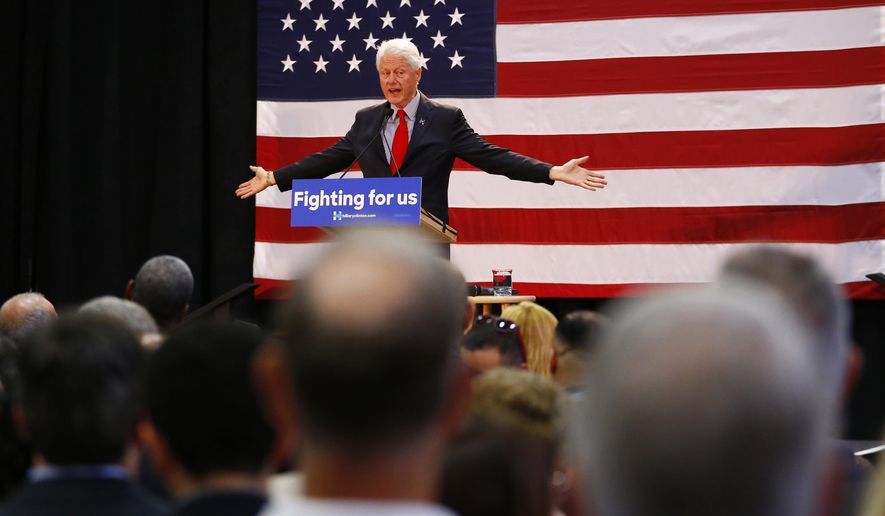 Former President Bill Clinton speaks while campaigning for his wife, Democratic presidential candidate Hillary Clinton, Friday, May 13, 2016, at Passaic County Community College in Paterson, N.J. (AP Photo/Julio Cortez)