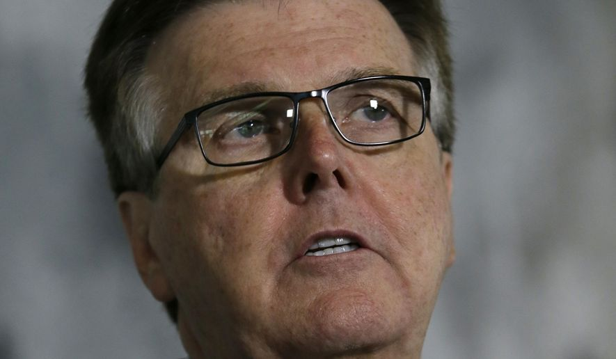 Texas Lt. Gov. Dan Patrick speaks during a news conference at the Texas Republican Convention Friday, May 13, 2016, in Dallas. Texas is signaling the state will challenge an Obama administrative directive over bathroom access for transgender students in public schools. (AP Photo/LM Otero)