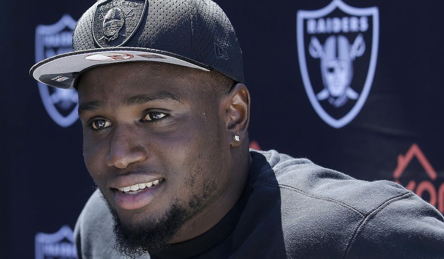 Oakland Raiders' Karl Joseph speaks to reporters during an NFL football rookie minicamp in Alameda, Calif., Friday, May 13, 2016. (AP Photo/Jeff Chiu)