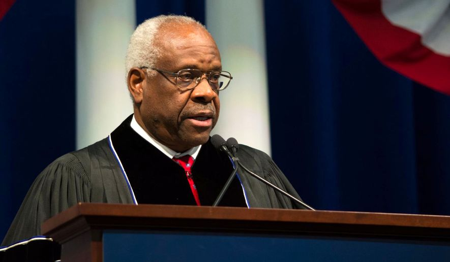 Supreme Court Justice Clarence Thomas gave the commencement address at Hillsdale College on Saturday. (Image courtesy of Hillsdale College)