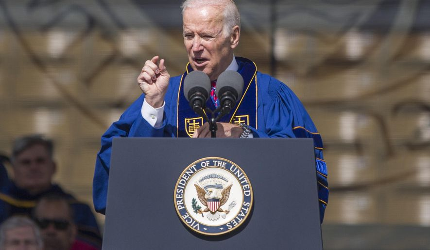 Vice President Joe Biden speaks to Notre Dame graduates after receiving the Laetare Medal, considered to be the oldest and most prestigious honor accorded to American Catholics, during the University of Notre Dame commencement ceremony on Sunday, May 15, 2016, inside Notre Dame Stadium in South Bend, Ind. (Robert Franklin/South Bend Tribune via AP)