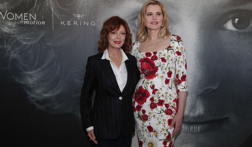 Actresses Susan Sarandon, left, and Geena Davis pose for photographers during a photo call for the Women In Motion Talks at the 69th international film festival, Cannes, southern France, Sunday, May 15, 2016. (AP Photo/Thibault Camus)