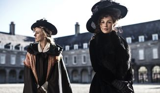 "This image released by Roadside Attractions shows Chloe Sevigny, left, and Kate Beckinsale in a scene from the film, ""Love & Friendship."" (Ross McDonnell/Roadside Attractions via AP)"
