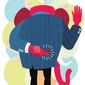 Illustration on the GOP candidate pledge to support the party's nominee by Linas Garsys/The Washington Times