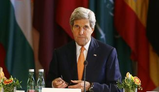 U.S. Secretary of State John Kerry attends the ministerial meeting on Libya in Vienna, Austria,  Monday May 16, 2016.   (Leonhard Foeger/Pool Photo via AP)
