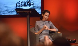 In this image from the BBC the  special envoy for the United Nations refugee agency  Angelina Jolie, speaks during an event in the BBC Radio Theatre, New Broadcasting House, London, Monday May 16, 2016, which is part of the BBC's the World on the Move live coverage.  (Jeff Over/ BBC via AP) **FILE**