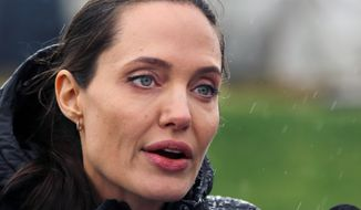 This is a Tuesday, March 15, 2016, file photo of U.S. actress Angelina Jolie, special envoy of the United Nations High Commissioner for Refugees, as she speaks during a press conference at a Syrian refugee camp, in the eastern city of Zahleh, Lebanon. (AP Photo/Bilal Hussein, File)