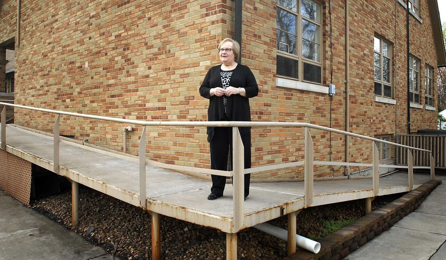 In this April 21, 2016 photo, Rev. Barbara Lohrbach talks about the area of St John's United Church of Christ in Kankakee, Ill., will be expanding later this spring. The church, which has for years welcomed members of the gay and transgender community, has maintained a healthy congregation particularly because of affirming policy. Lohrbach, the church's pastor since 2004, estimates 40 percent of St. John's congregation would be classified as LGBT. (Mike Voss/The Daily Journal via AP)  MANDATORY CREDIT