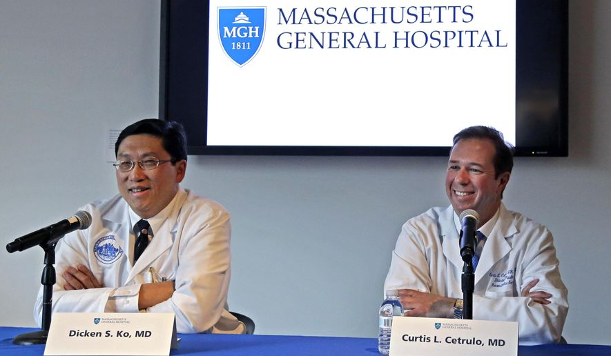Surgical team members Dr. Dicken Ko, left, and Dr. Curtis Cetrulo address the media during a news conference at Massachusetts General Hospital, Monday, May 16, 2016, in Boston. The doctors confirmed that cancer patient Thomas Manning of Halifax, Mass. received a transplanted penis in a 15-hour procedure last week. The organ was transplanted from a deceased donor. (AP Photo/Elise Amendola)