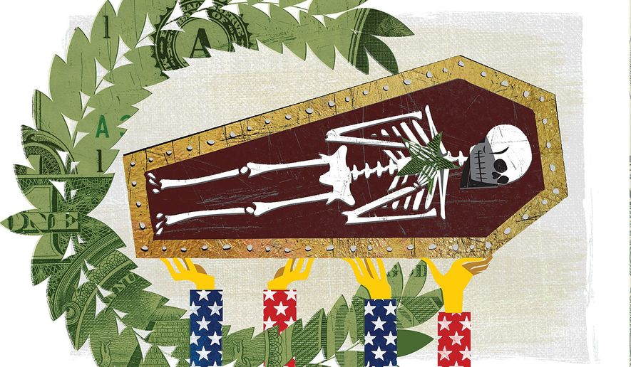Illustration on the death of Hezbollah commander Mustafa Badreddine by Linas Garsys/The Washington Times