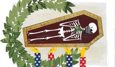 Illustration on the death of Hezbollah commander Mustafa Badreddine by Linas Garsys/The Washington Times