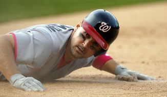 wbbNationals' Ryan Zimmerman reacts as he grounds out to Chicago Cubs third baseman Javier Baez during the 12th inning of a baseball game Sunday, May 8, 2016, in Chicago. (AP Photo/Nam Y. Huh)