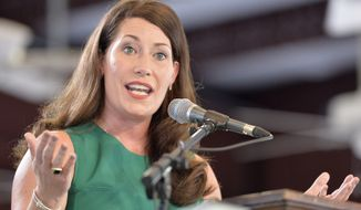 Kentucky Secretary of State Alison Lundergan Grimes said late Tuesday that while results were unofficial until certified by the state, there were too few votes remaining to be counted for Sen. Bernard Sanders of Vermont to catch up with Hillary Clinton. (Associated Press)