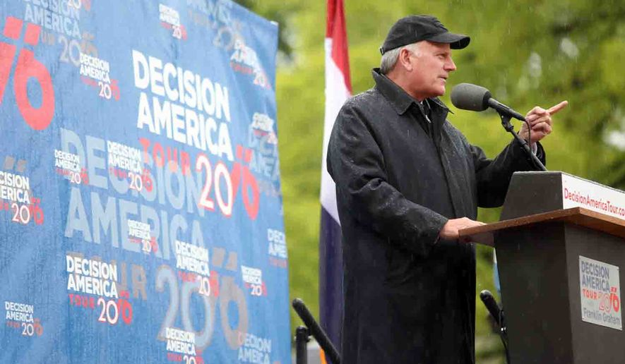 Franklin Graham speaks at a Decision America Tour event held at the state capitol in Jefferson City, Mo., on Tuesday May 17, 2016. Graham is urging Missouri's Christians to run for office and support candidates who adhere to biblical principles. (Shelby Kardell/News Tribune via AP)