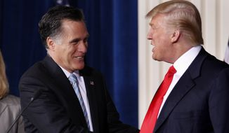 "Mitt Romney in 2012 called the endorsement of Donald Trump a ""delight"" and an ""honor"" and praised the businessman's job creation record and overall economic wisdom. (Associated Press)"