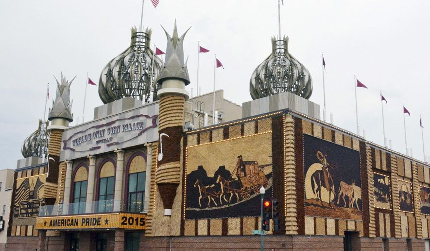FILE - This Sept. 1, 2015, file photo shows the newly-renovated Corn Palace in Mitchell, S.D. A proposal by Mitchell Mayor Jerry Toomey to change the murals on the Corn Palace tourist attraction only every other year to save money is receiving mixed reviews. (AP Photo/Dirk Lammers, File)